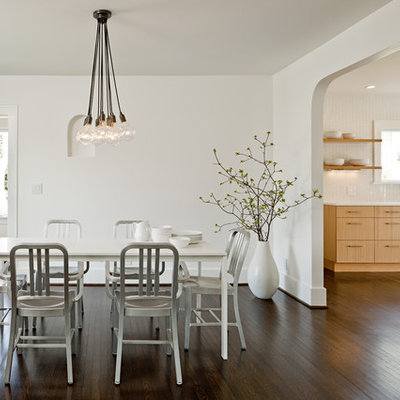 Kitchen/dining room combo - contemporary dark wood floor kitchen/dining room combo idea in Portland with white walls