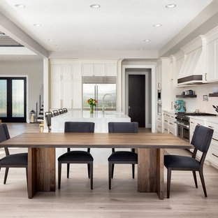 Example Of A Transitional Light Wood Floor And Beige Floor Dining Room  Design In Portland With