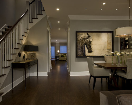 Elegant Dark Wood Floor And Brown Dining Room Photo In Chicago With Gray Walls
