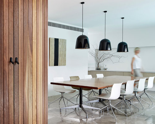 This Is An Example Of A Scandinavian Dining Room In Melbourne With White  Walls.