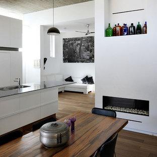 На фото: столовые среднего размера в стиле модернизм с белыми стенами, горизонтальным камином, темным паркетным полом и фасадом камина из штукатурки