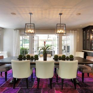 Trendy dark wood floor dining room photo in Bridgeport with gray walls