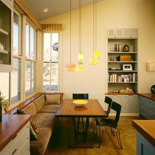 Удачное сочетание для дизайна помещения: столовая в современном стиле с бетонным полом - самое интересное для вас