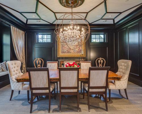 Sala da pranzo con camino classico e pareti nere foto idee arredamento - Pareti sala da pranzo ...