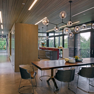ボストンの広いモダンスタイルのおしゃれなLDK (コンクリートの床、吊り下げ式暖炉、コンクリートの暖炉まわり、グレーの床) の写真