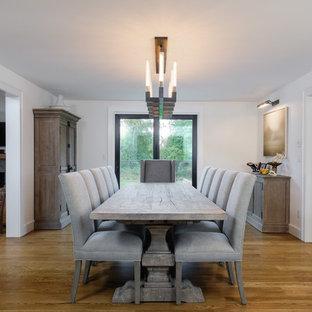 Enclosed Dining Room   Transitional Medium Tone Wood Floor And Brown Floor  Enclosed Dining Room Idea