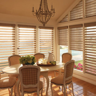 Inspiration for a medium sized nautical kitchen/dining room in Other with beige walls, vinyl flooring and no fireplace.