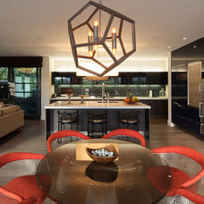 Contemporary Dining Room by Rosemarie Allaire Lighting Design