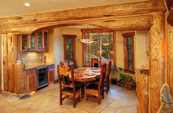 Traditional Dining Room by Sitka Log Homes