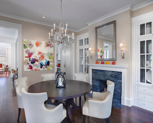 Inspiration For A Transitional Dark Wood Floor Dining Room Remodel In  Chicago With Beige Walls