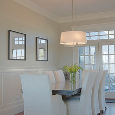 Transitional Dining Room by Belmont Design Group