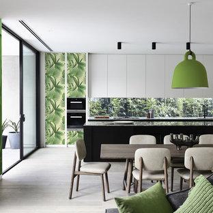 Modelo de comedor exótico con paredes verdes
