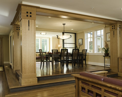 Perfect Contemporary Dark Wood Floor Dining Room Idea In Seattle With Beige Walls