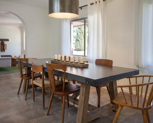 Esszimmer Mit Porzellan Bodenfliesen Im Industrial Style Einrichten .