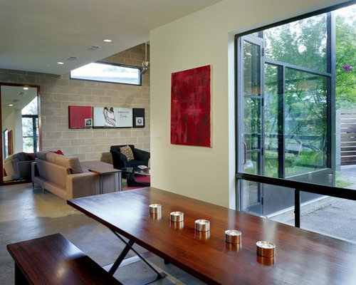 Urban Great Room Photo In Austin With Concrete Floors