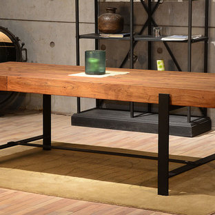 Kitchen/dining room combo - large industrial kitchen/dining room combo idea in San Francisco
