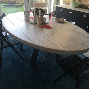 Industrial Style Whitewashed Oval Pedestal Dining Table
