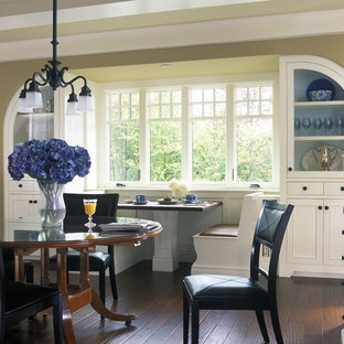 Inspiration for a large timeless dark wood floor kitchen/dining room combo remodel in Grand Rapids with beige walls