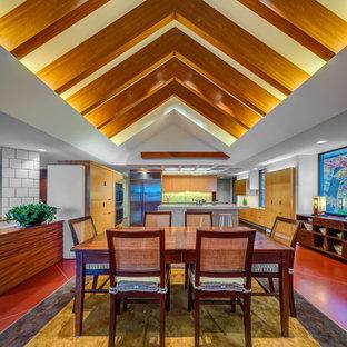 Idee per una grande sala da pranzo aperta verso la cucina minimal con pareti beige, pavimento in terracotta e pavimento rosso