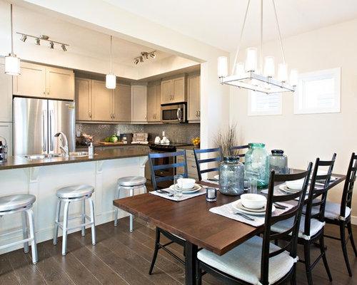 Transitional Dark Wood Floor Kitchen Dining Room Combo Idea In Edmonton With Beige Walls