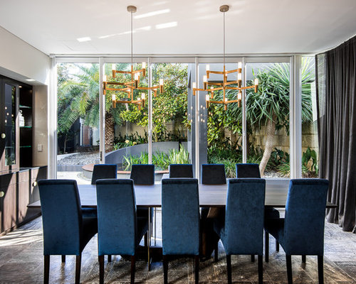 Inspiration For A Large Contemporary Open Plan Dining In Perth With White Walls And Ceramic Floors
