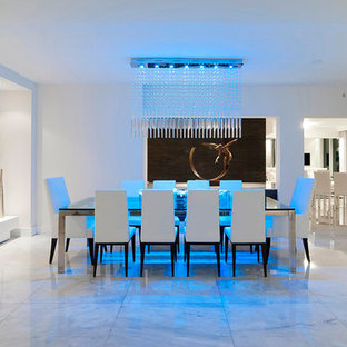 Trendy white floor dining room photo in Other with white walls and no fireplace