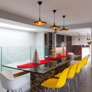 Immagine di una sala da pranzo design con pareti grigie, parquet scuro e stufa a legna