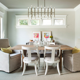 Inspiration for a transitional dining room remodel in Atlanta with gray walls