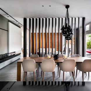 Идея дизайна: гостиная-столовая в современном стиле с горизонтальным камином