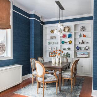 ニューヨークの小さいエクレクティックスタイルのおしゃれなダイニングキッチン (青い壁、カーペット敷き、青い床) の写真