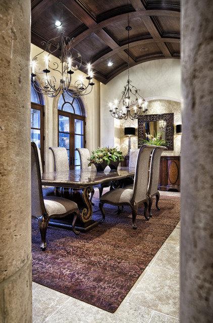 Mediterranean Dining Room by JAUREGUI Architecture Interiors Construction