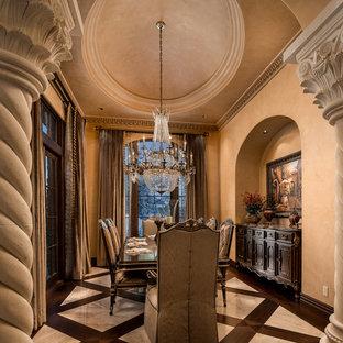 Imagen de comedor tradicional, extra grande, cerrado, con paredes beige, suelo de mármol, chimenea tradicional, marco de chimenea de piedra y suelo beige