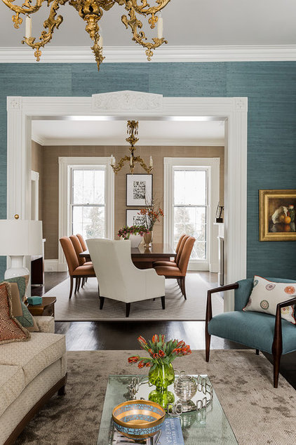 Transitional Dining Room by Terrat Elms Interior Design