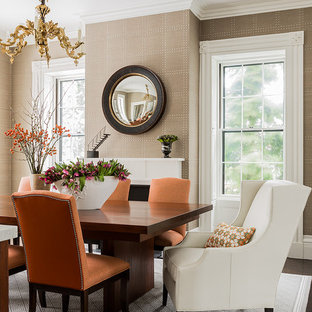 Inspiration For A Mid Sized Transitional Dark Wood Floor Dining Room Remodel In Boston With