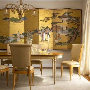 Exemple d'une salle à manger asiatique avec un mur beige.