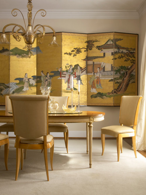 Inspiration For A Zen Dining Room Remodel In Los Angeles With Beige Walls