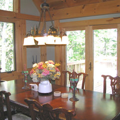 eclectic dining room Jasper, Ga Post and Timber frame mountain home