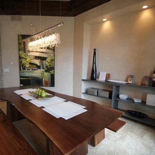 Trendy dining room photo in Cedar Rapids with beige walls