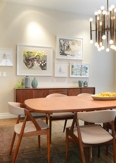 midcentury dining room by walls by design inc