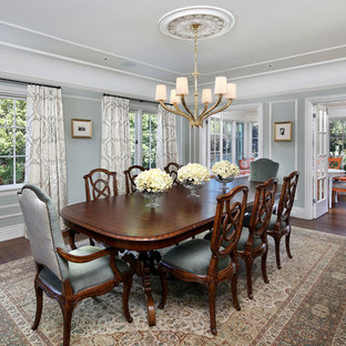 Large elegant dark wood floor and brown floor enclosed dining room photo in San Francisco with gray walls and no fireplace
