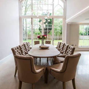 Large traditional kitchen/dining room in Surrey with beige walls and no fireplace.
