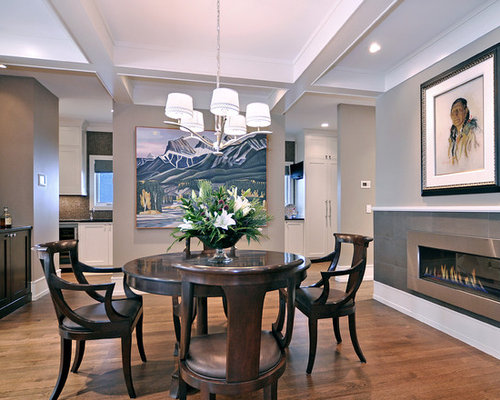 Transitional Dark Wood Floor Dining Room Idea In Calgary With Gray Walls A Ribbon Fireplace