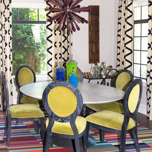 Inspiration for an eclectic dining room remodel in Atlanta with beige walls and no fireplace