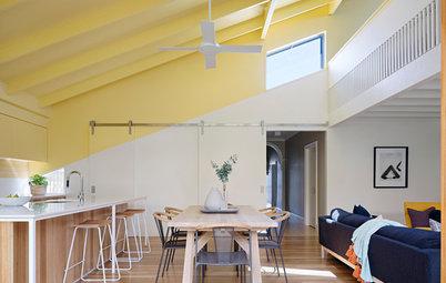 Pièce à vivre de la Semaine : Plafond jaune pour salon joyeux
