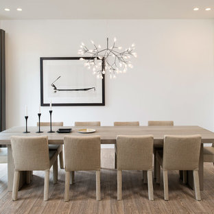 Mid-sized danish light wood floor dining room photo in DC Metro with white walls
