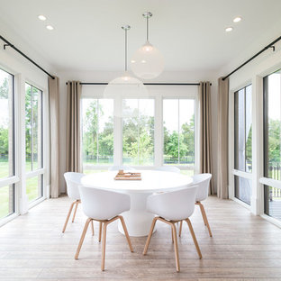 Large danish light wood floor enclosed dining room photo in DC Metro with white walls