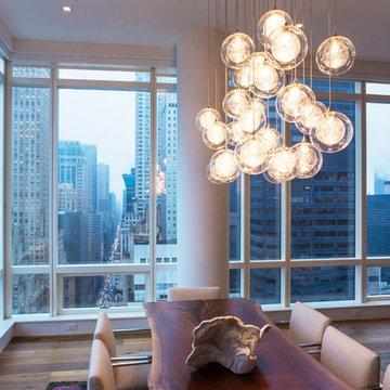 Kadur Custom Blown Glass Chandelier - Manhattan Loft Apartment