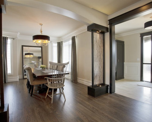 Transitional Dining Room Photo In Calgary With Beige Walls And Dark Hardwood Floors