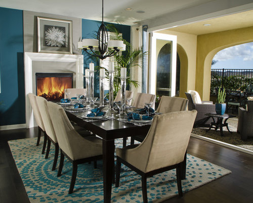 teal dining room houzz