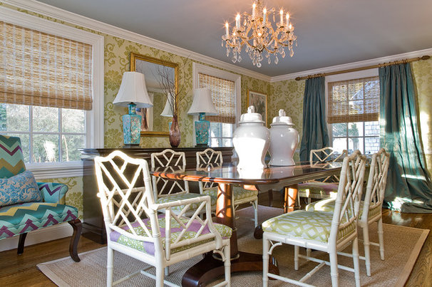 Transitional Dining Room by Michael J. Lee Photography